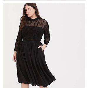 Torrid Black Mesh Flocked Neck Dress - size 18